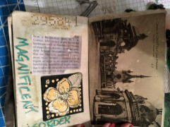 The page on the right is an antique postcard inserted into the passport.